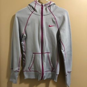 Nike grey/purple zip up sweatshirt size XS